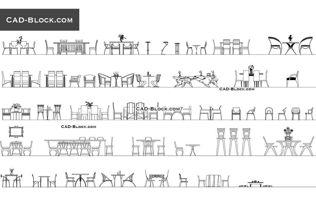 Tables And Chairs Cad Blocks Download Free