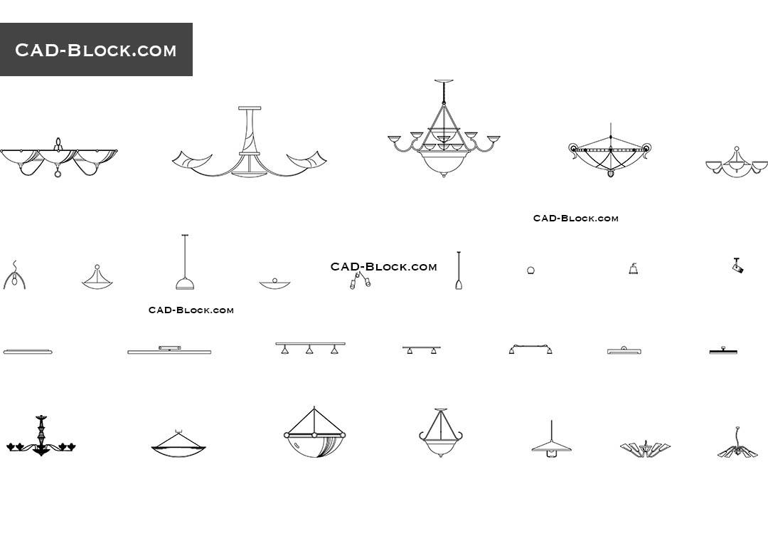 Ceiling lights CAD Blocks free download, DWG file