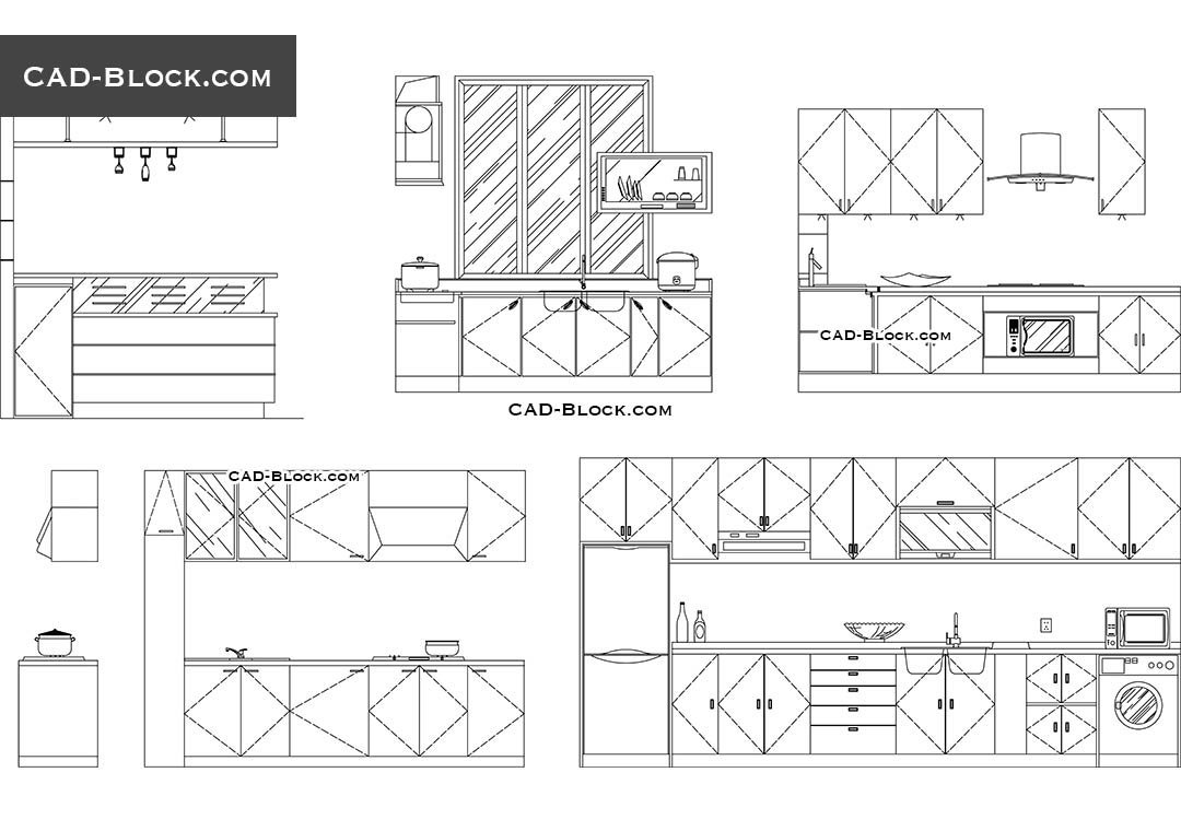 Kitchen Cabinet Design Plans Download Kitchen Elevation Dwg Cad Blocks Free