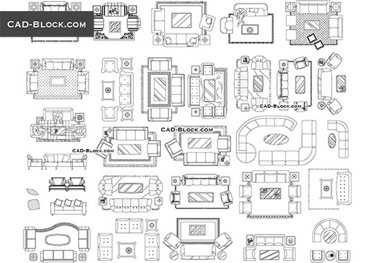 Furniture CAD Blocks Couches and sofas in plan - free living room furniture