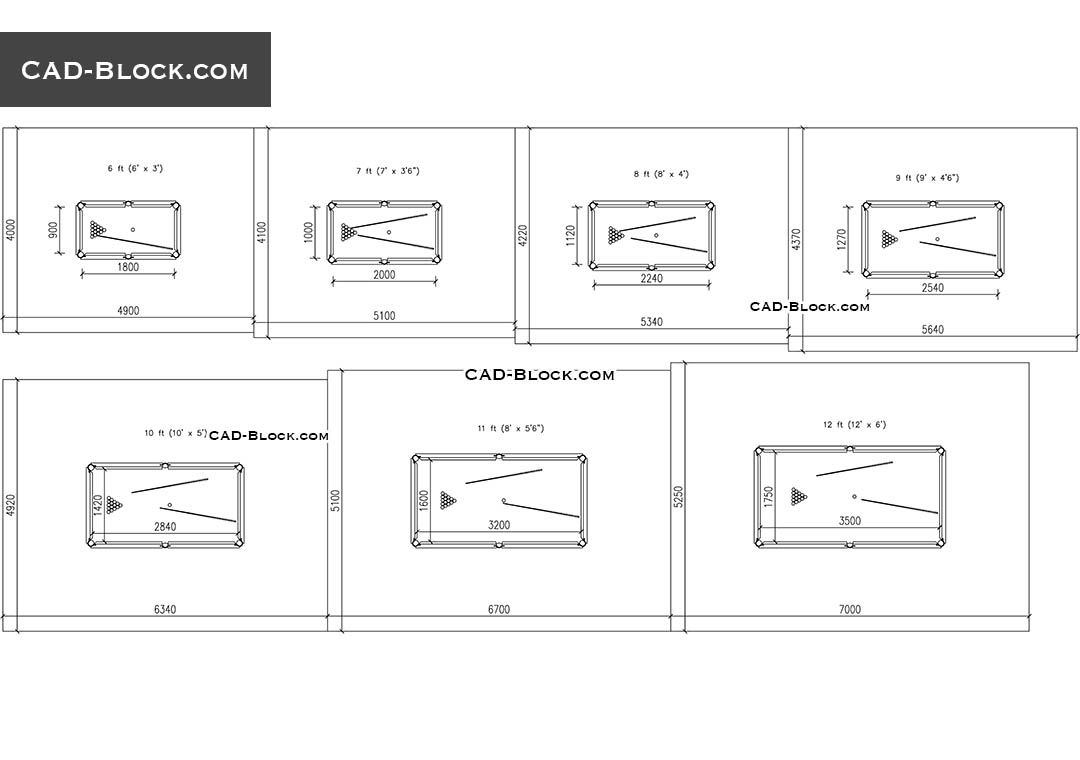 Pool Table Room Size Guide Drawings Cad Blocks Free Download