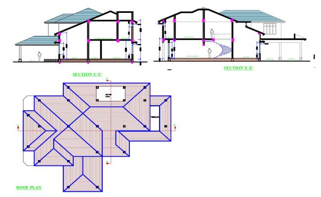 Two-level house section and roof plan cad drawing details dwg file