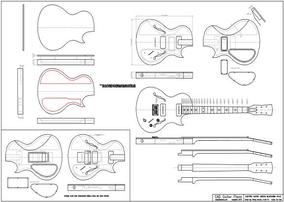 CAD Blueshawk Gibson Style Electric Guitar Plan