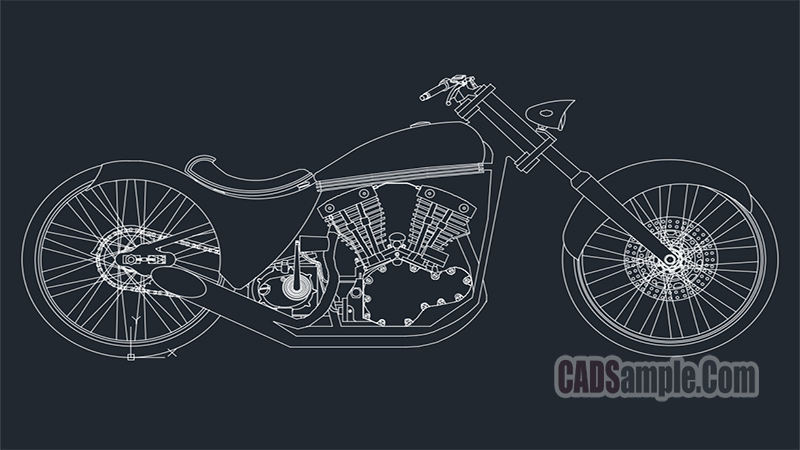 Sofas Cad 2d Choppers Motorcycle Dwg » Cadsample.com