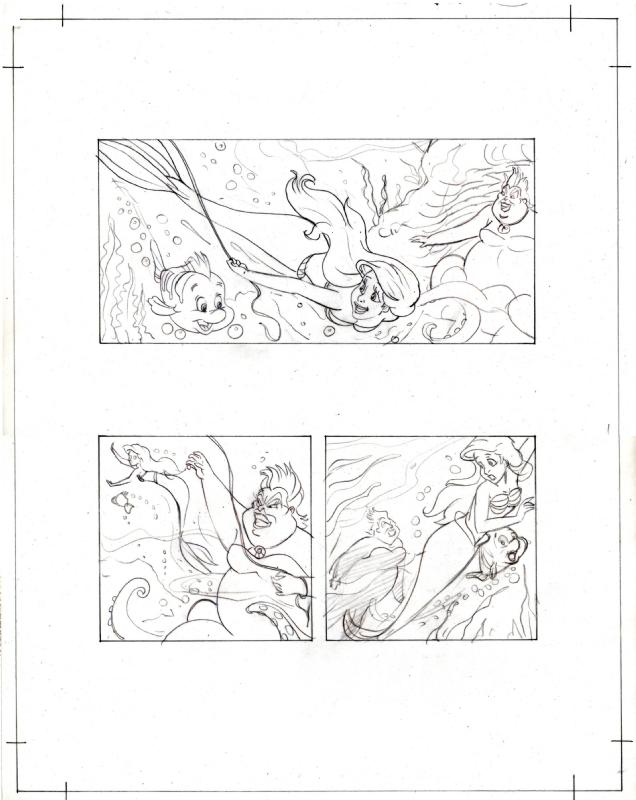 THE LITTLE MERMAID ORIGINAL STORYBOARD PAGE MIGUEL SANCHEZ DISNEY