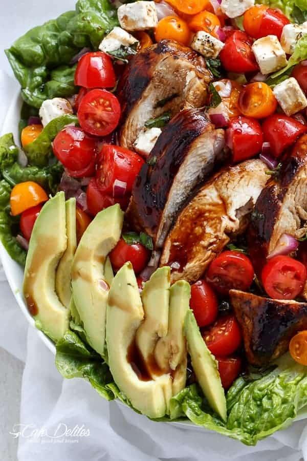 Grilled Balsamic Chicken and Avocado Bruschetta Salad - Cafe Delites