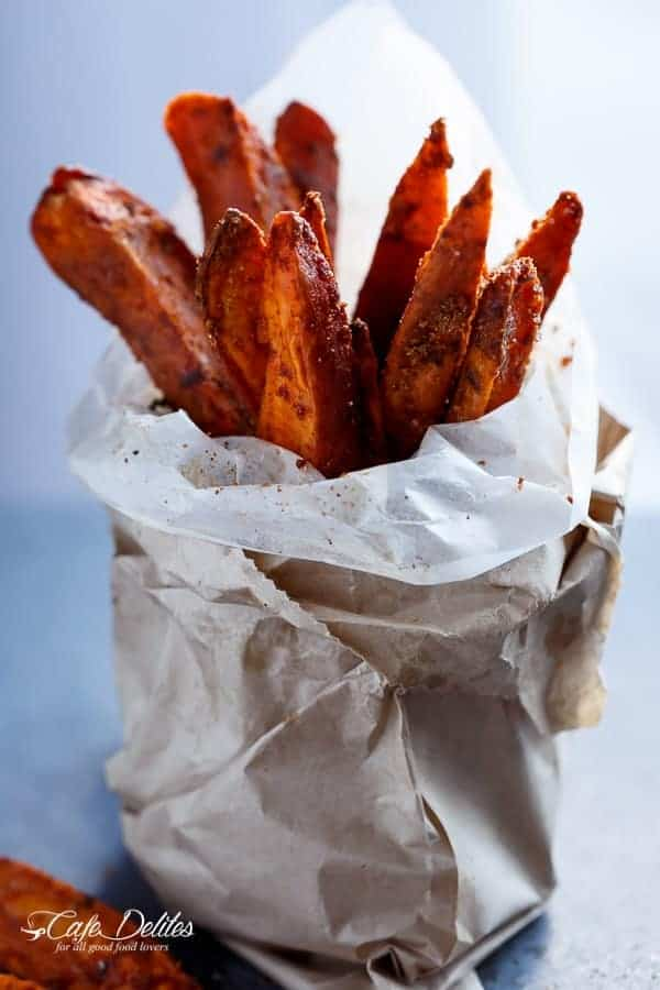Crispy Sweet Potato Wedges with Garlic Avocado Aioli | http://cafedelites.com