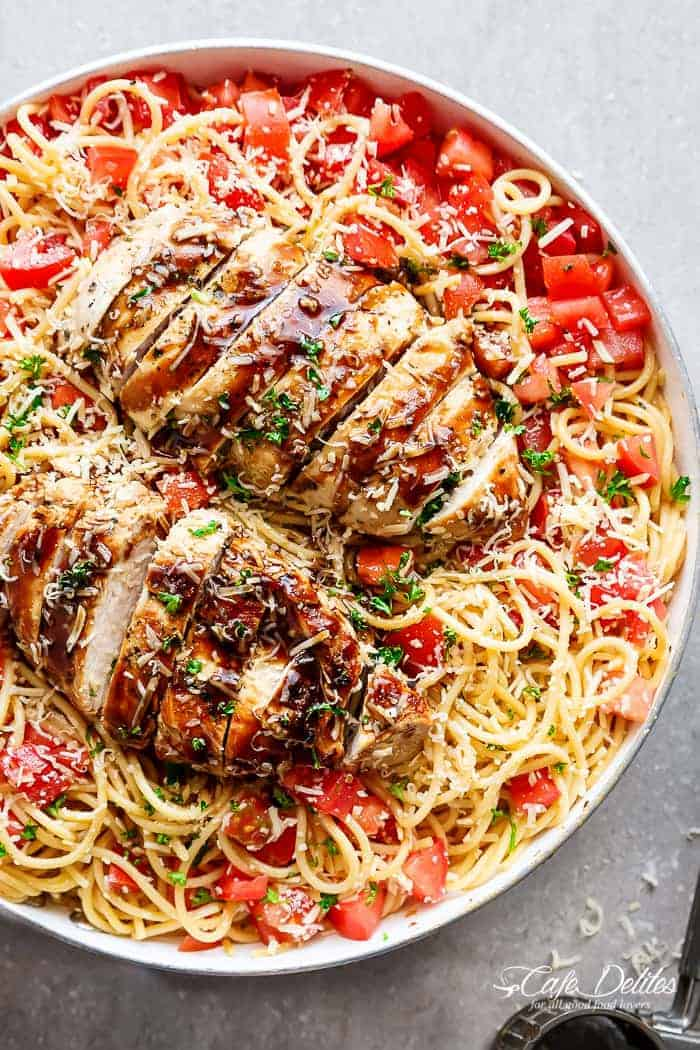 Bruschetta Chicken Pasta Salad is a must make for any occasion! With ...