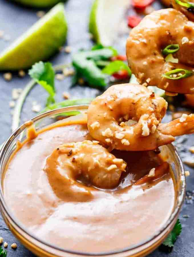 Easy grilled Satay Shrimp Skewers smothered in the BEST 10 minute Thai-style peanut sauce with minimal effort and maximum taste!   http://cafedelites.com