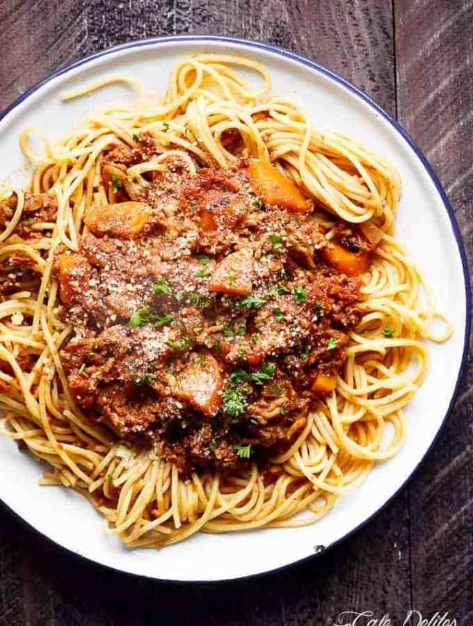 Easy to make rich and rustic Slow Cooker Bolognese Sauce, packed with so much flavour to coat your pasta (or vegetables) of choice!   http://cafedelites.com