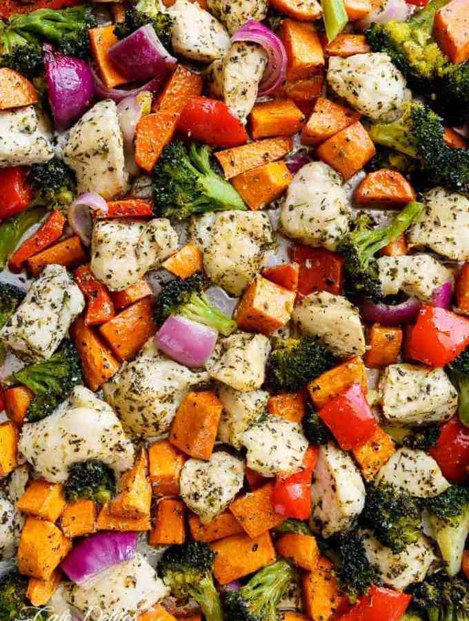 Garlic Herb Chicken & Sweet Potato Sheet Pan Meal Prep   http://cafedelites