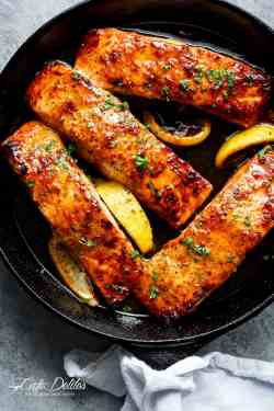 Awesome This Salmon Recipe Is Easy Honey Garlic Salmon Cafe Delites Salmon Steak Recipe Pan Salmon Steak Recipe Gordon Ramsay