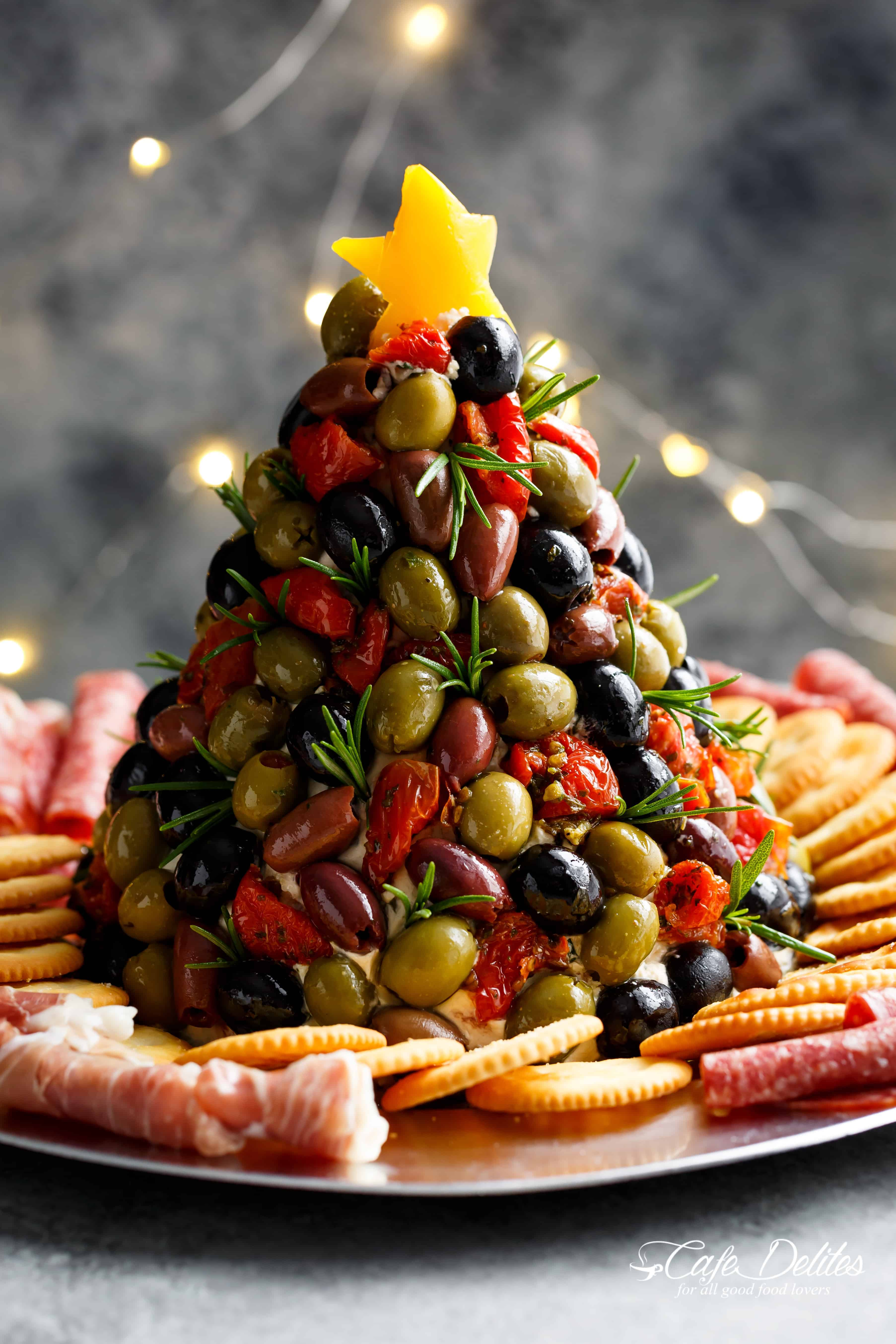 Healthy Christmas Appetizers Pinterest Antipasto Cheese Ball Christmas Tree