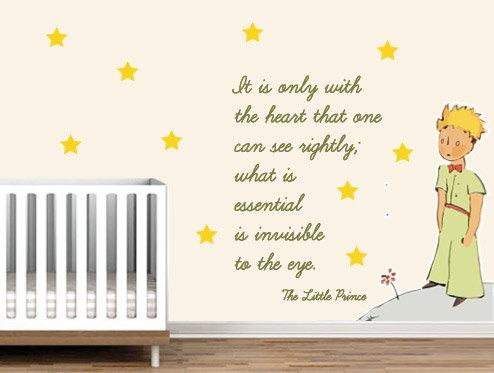 Le Petit Prince Quote Wallpaper Little Prince Nursery Wall Sticker Decor Saint Exupery