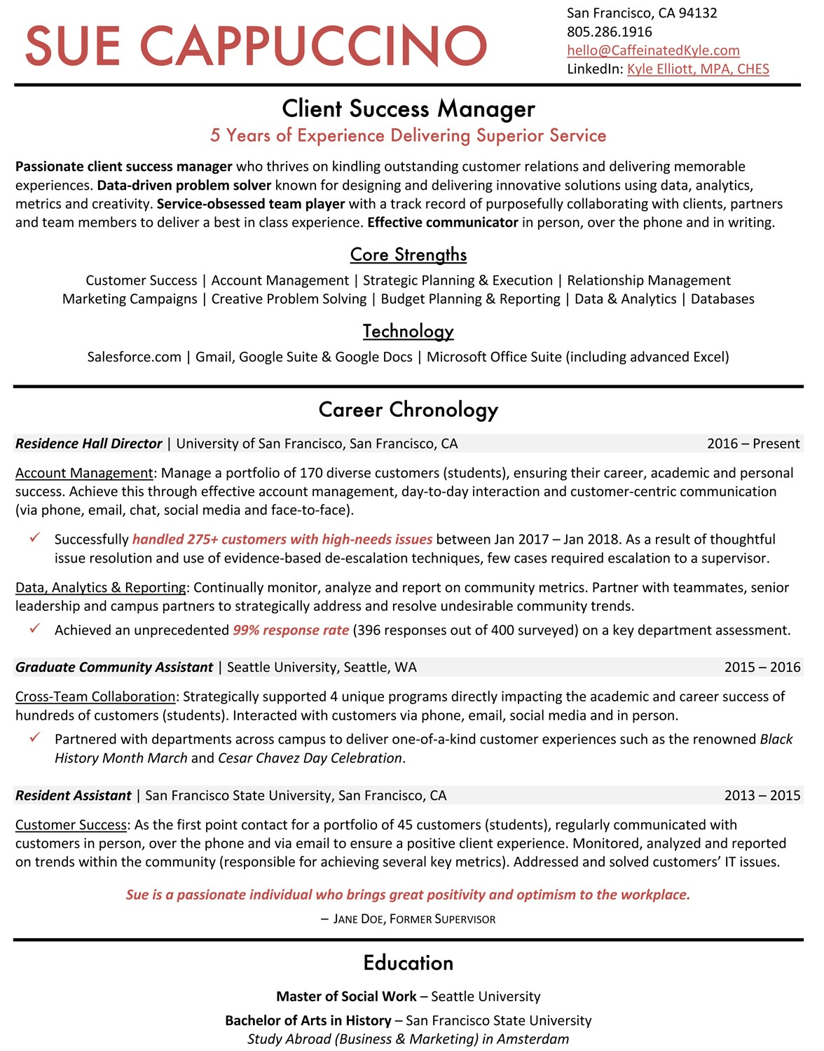 Customer Success Manager Resume Project