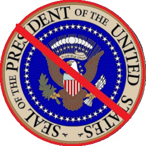 The Seal of the President of the United States covered with a red band or stripe