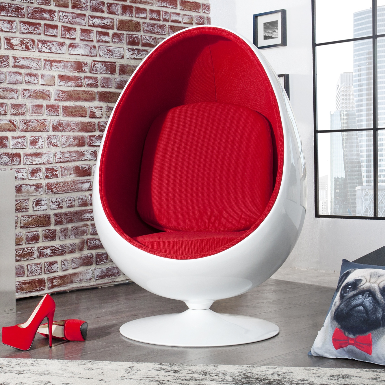 Egg Sessel Retro Lounge Designer Chair Sitzei [egg Ball] White-red