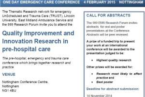 Quality Improvement and Innovation Research Conference, Nottingham 4 February 2015