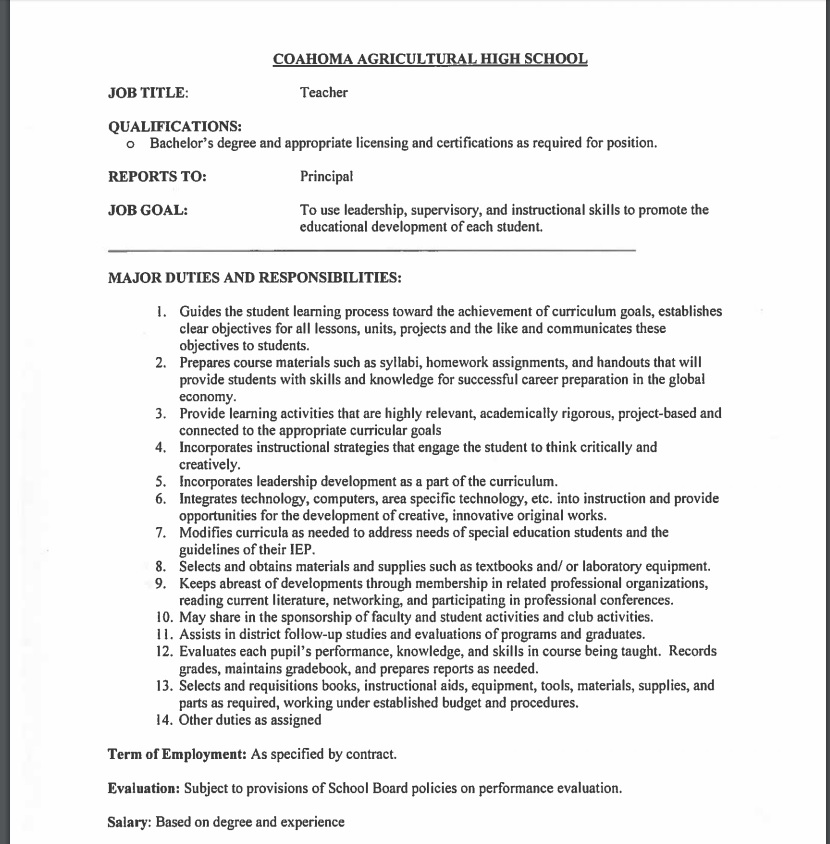 Employment Opportunities - english teacher job description
