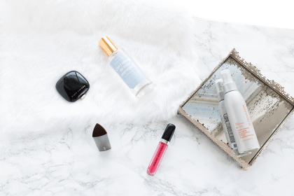 Beauty Roundup of July. Marc Jacobs Hey You gloss, Tantric bronzer, Hourglass Vanish foundation stick, Anese Can I Speak To Your Manager? facial spray, and Dr. Dennis Gross Mineral Spray