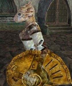 An Argonian Female from Morrowind.  They are actually cute, while still maintaining an extremely reptilian figure.