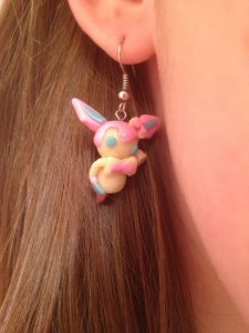 Sylveon Earrings.  These glow in the dark!