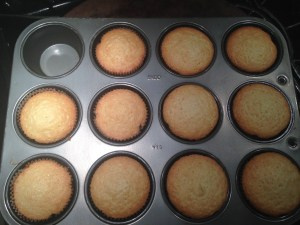 I ate too much batter plain (ommm nom nom this is one of my favorite batters) so I only made 11 cupcakes.