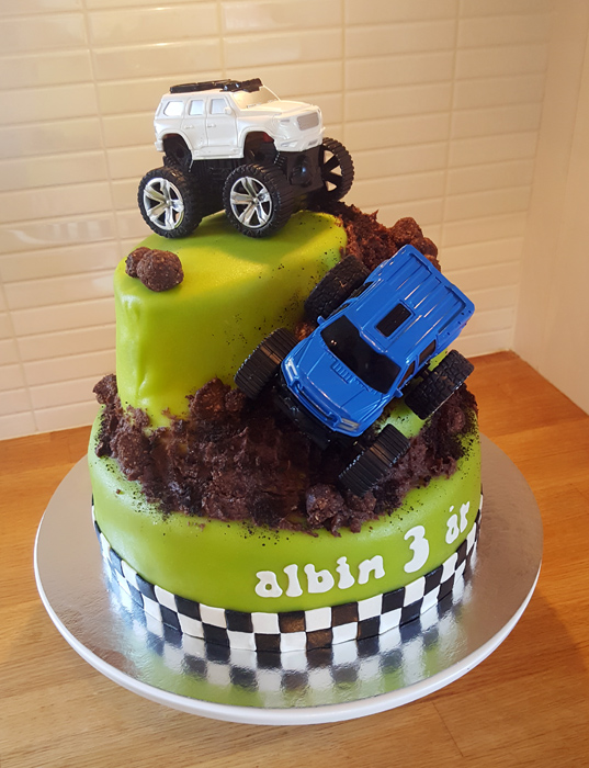 Monster truck cake - monster truck-tårta