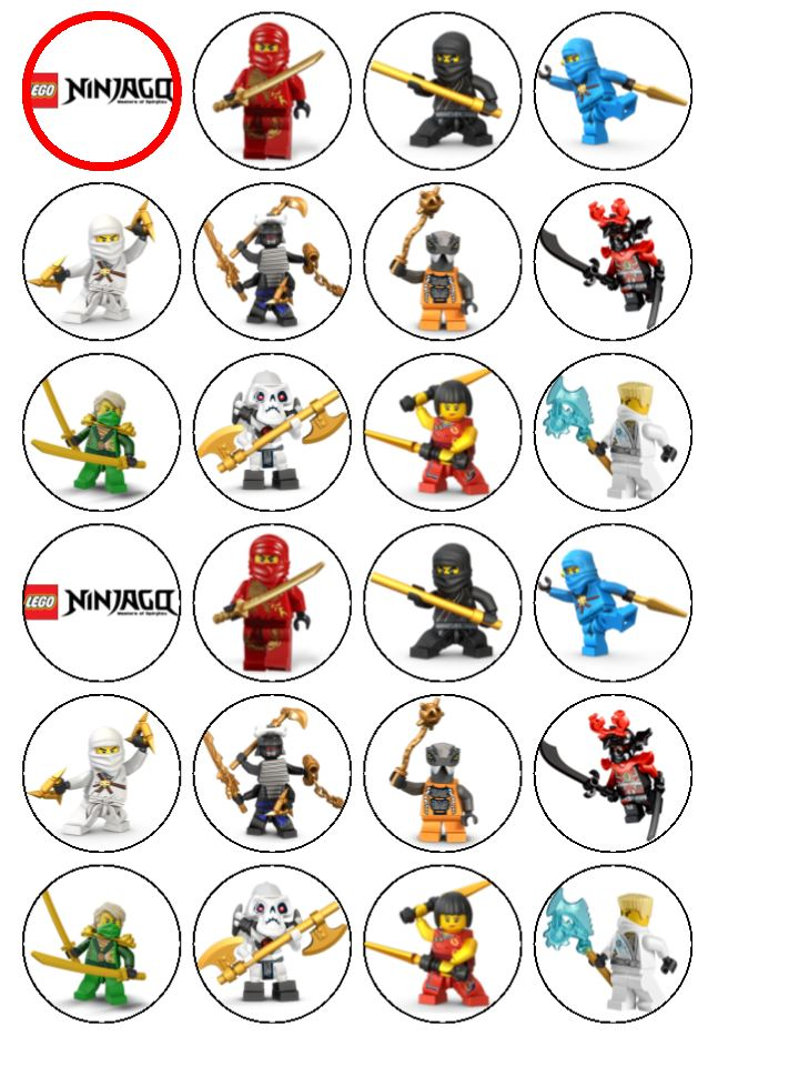 Cake Topper Selber Machen 24 X Lego Ninjago Edible Rice Wafer Paper Cupcake Toppers