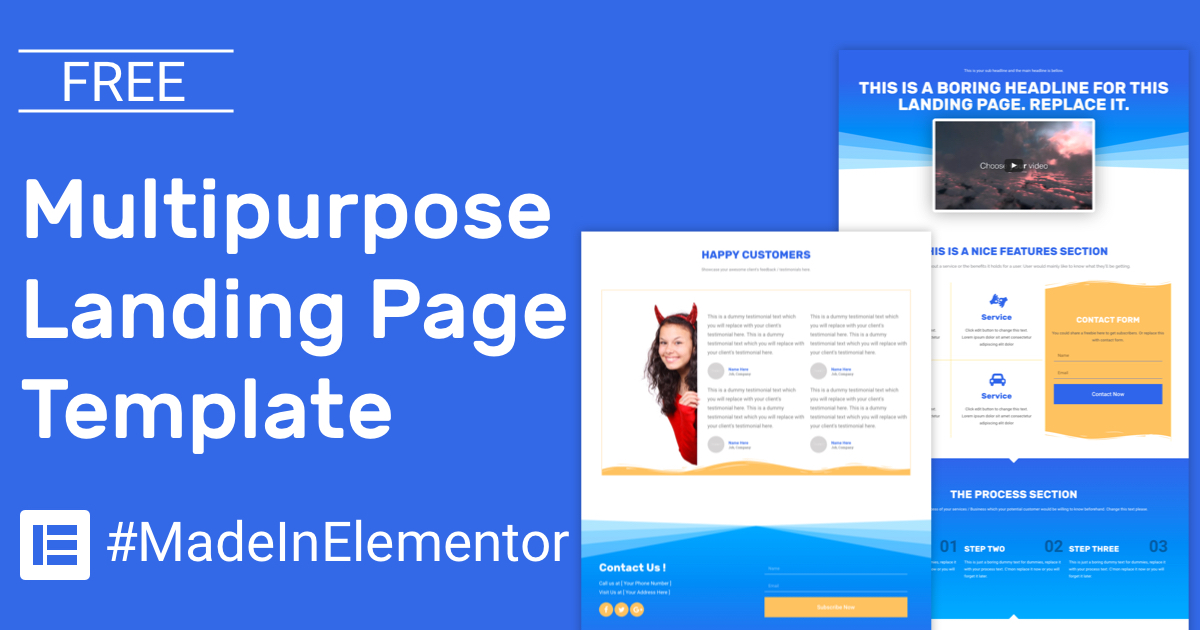 Free Simple Multipurpose Landing Page Elementor Template CakeWP - Nice Templates