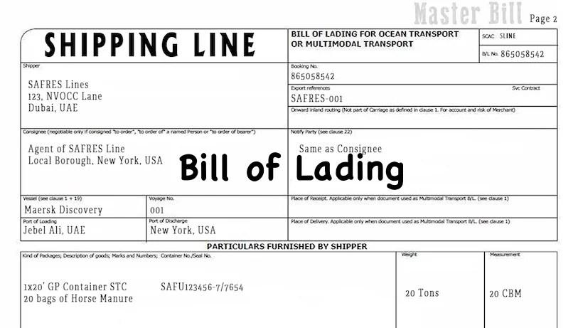 bill of laiding - Towerssconstruction