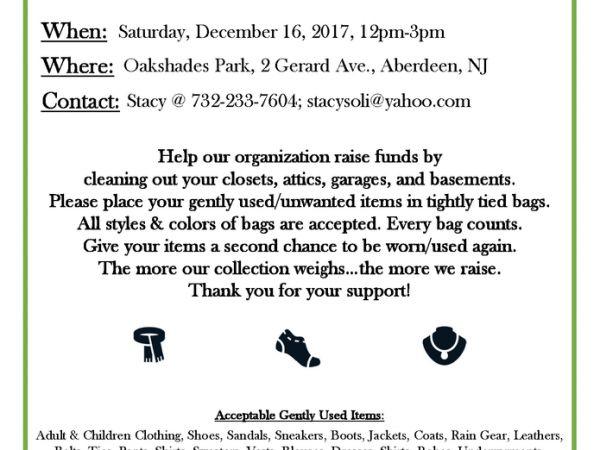 Dec 16 Clothing  Shoe Drive - Jersey Shore Huskies Matawan