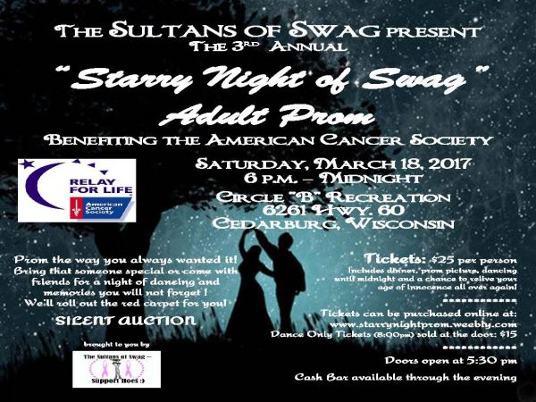 Mar 18 Adult Prom to benefit the American Cancer Society Port