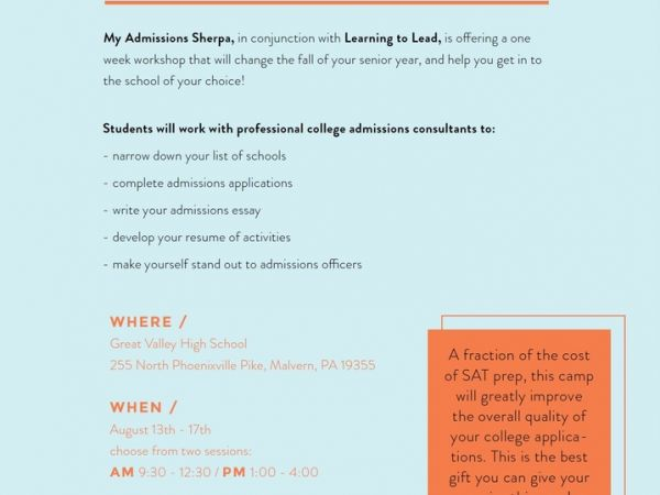Aug 17 College Application and Essay Boot Camp Tredyffrin