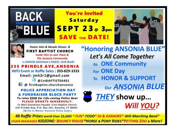 Sep 24 HONORING ANSONIA BLUE - Police Appreciation Day, Fundraiser