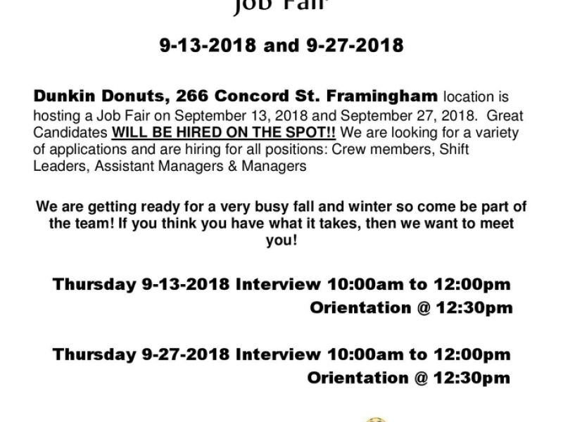 Sep 28 Job Fair - Dunkin Donuts Framingham Framingham, MA Patch
