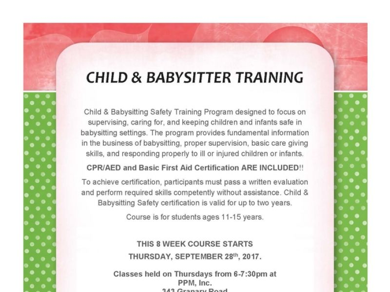 Sep 28 Babysitter Certification Course Bel Air, MD Patch