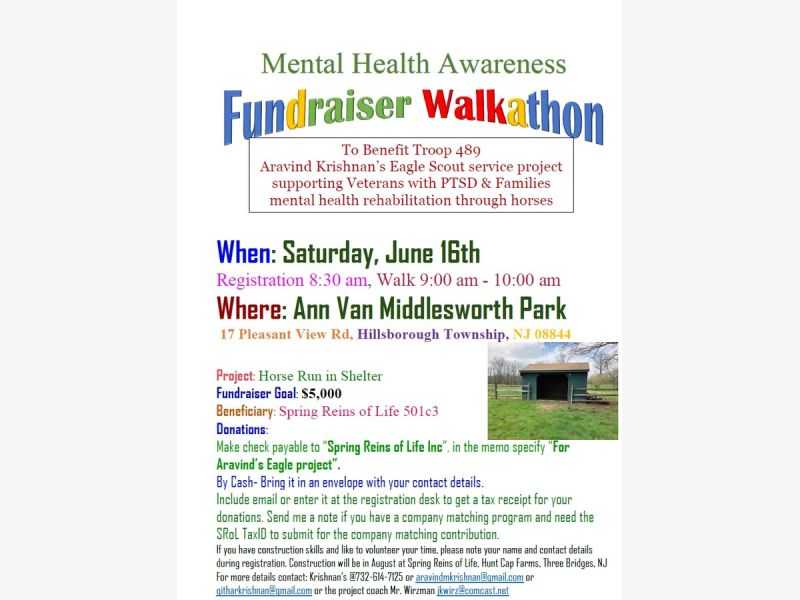 Jun 16 Mental Health Awareness Fundraiser Walkathon Hillsborough