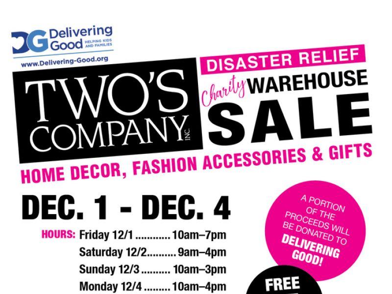Dec 1 Two\u0027s Company Disaster Relief Charity Warehouse Sale White - Disaster Relief Flyer