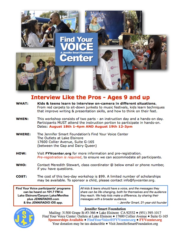 Aug 18 Interview Like the Pros 2-day workshop for kids 9 and up