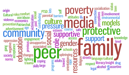 Results of brainstorm of risk and protective factors for  sexual violence prevention. Created by www.wordle.net