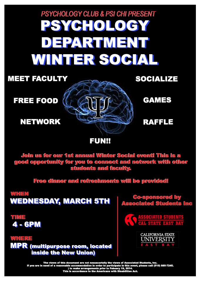 2014 Winter Social Flyer Society of the Mind Psychology club at CSUEB