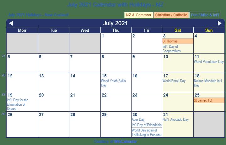Printable Calendar Nz Holidays 2018 Calendar With Nz Holidays Ms Word Download Print Friendly July 2021 New Zealand Calendar For Printing
