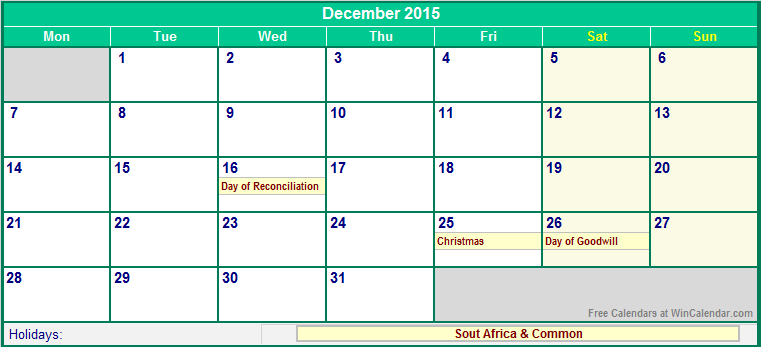 printable 2015 calendar with holidays