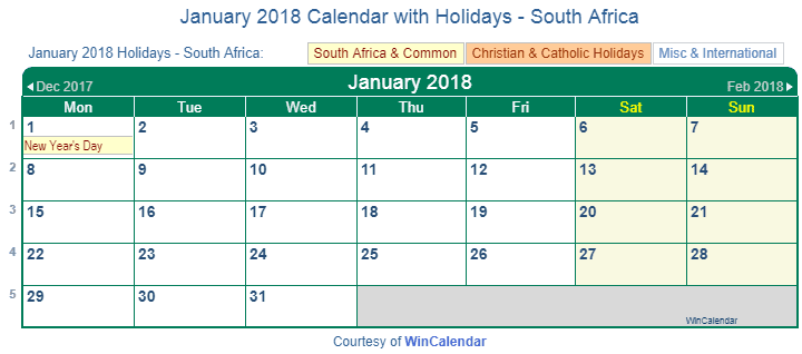 Religious Calendar Holidays When Is Dates Of Religious And Civil Holidays Around The Print Friendly January 2018 South Africa Calendar For Printing