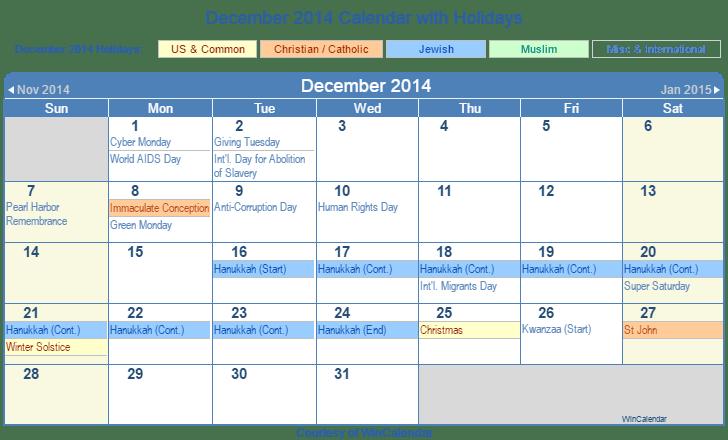 Calendar 2014 December Year 2014 Calendar Time And Date Print Friendly December 2014 Us Calendar For Printing