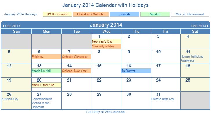 January 2014 Jewish Calendar January 2018 Jewish Calendar Print Friendly January 2014 Us Calendar For Printing