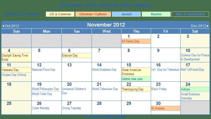 Print Calendar November 2012 Year 2012 Calendar United States Time And Date Print Friendly November 2012 Us Calendar For Printing
