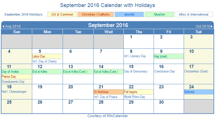 Us Calendar With Holidays For 2016 2016 Calendar With Us Holidays Ms Word Download Print Friendly September 2016 Us Calendar For Printing
