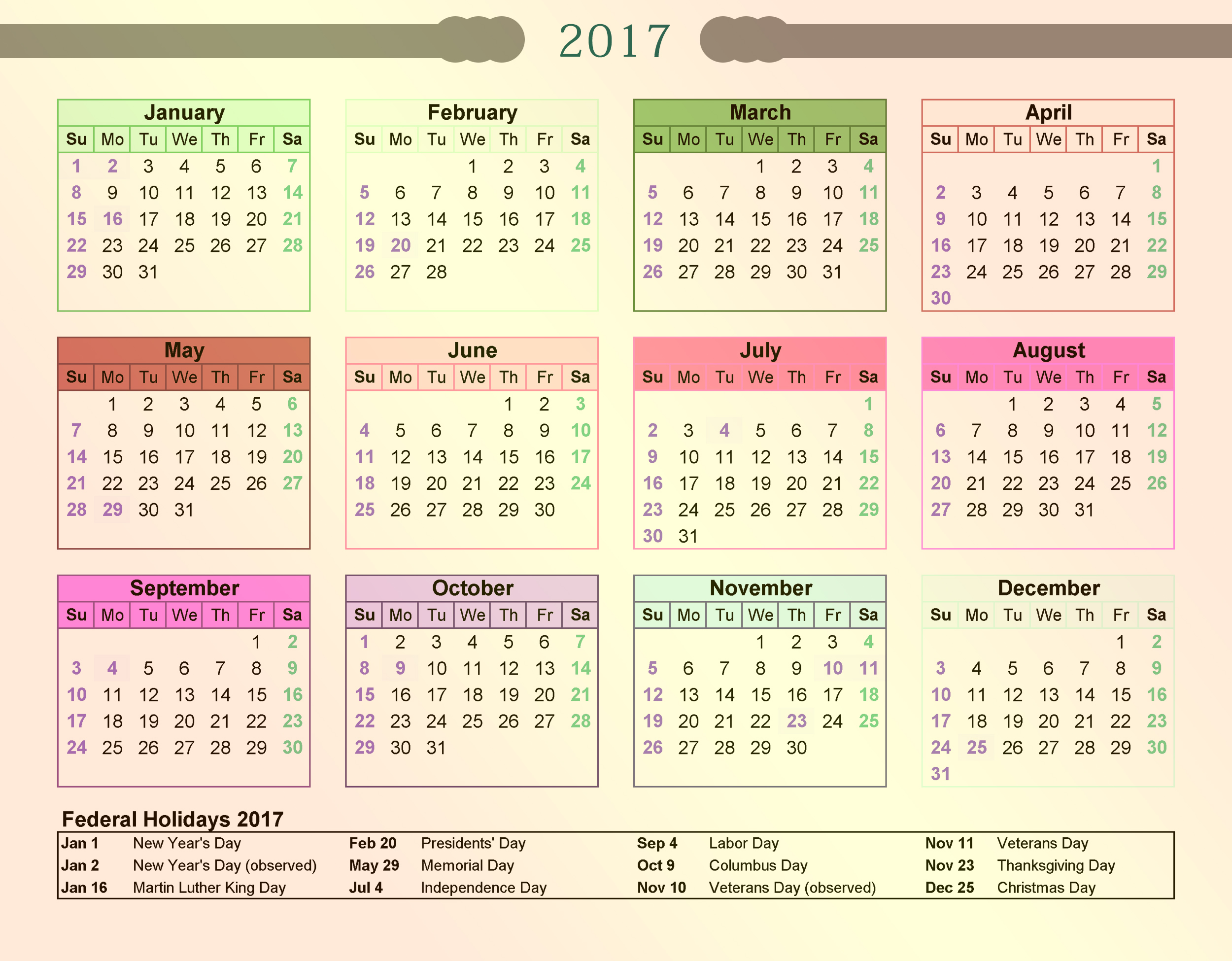 2017 Calendar And Holidays Year 2017 Calendar United States Time And ...
